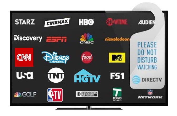 DIRECTV programming logos on TV screen
