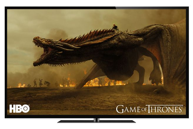 flatscreen with dragon from game of thrones