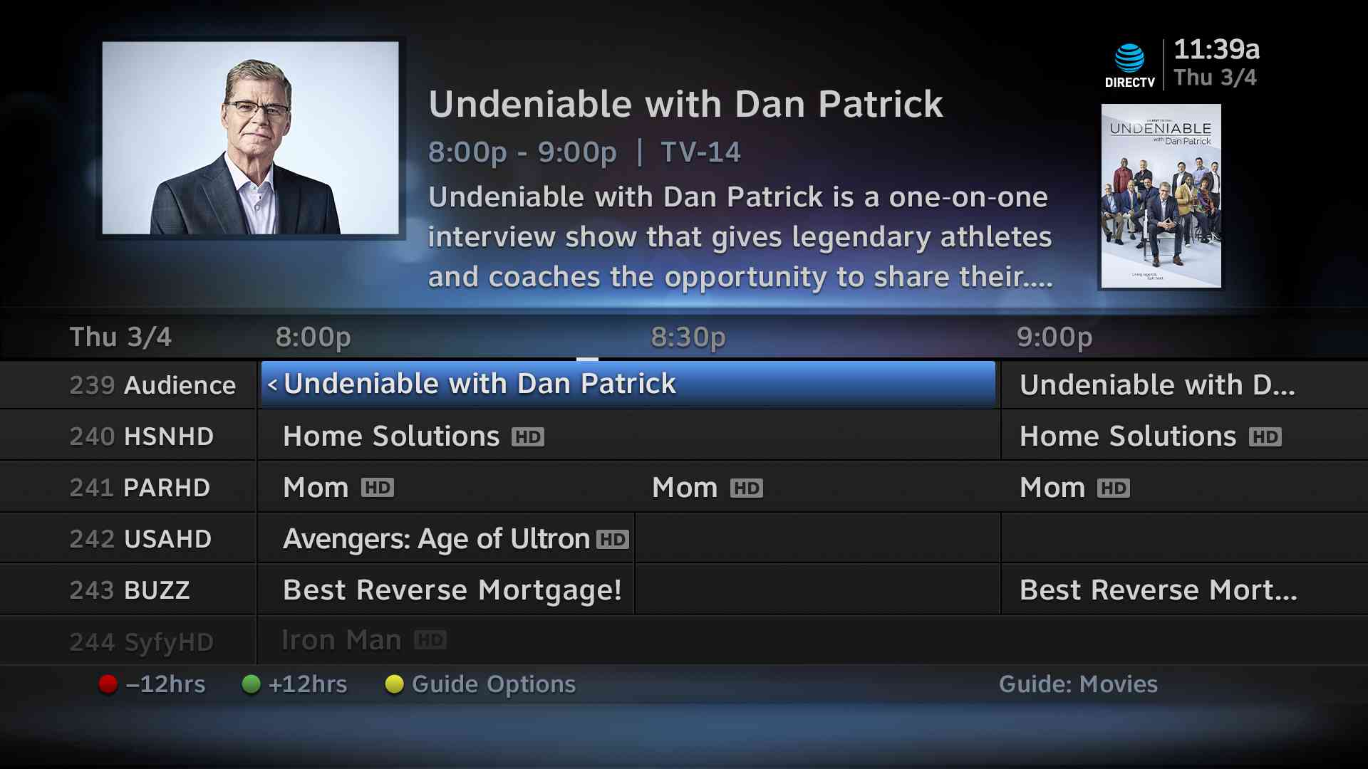 television guide showing Dan Patrick